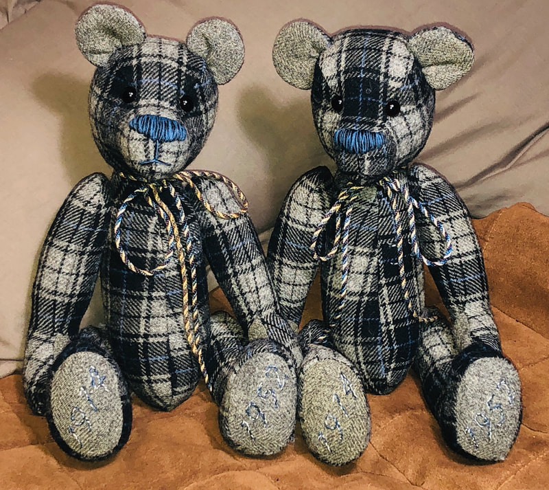 Fully jointed memory bears  made from grey & blue tartan dressing gown